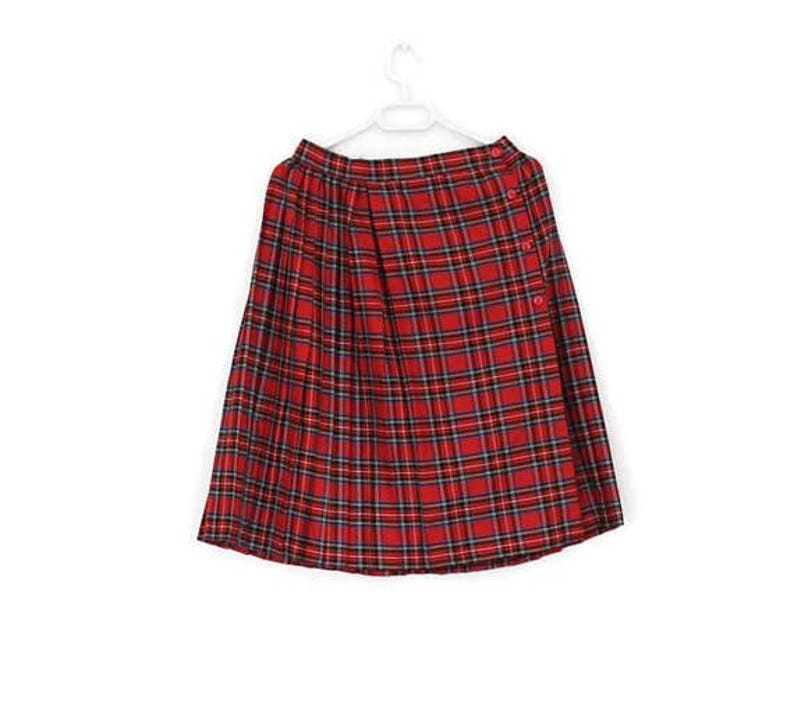 Scottish Kilt Tartan Plaid Authentic Hot Red Wrap Skirt Accordion Pleated Made in England Back to School Medium Size Tartan Flared