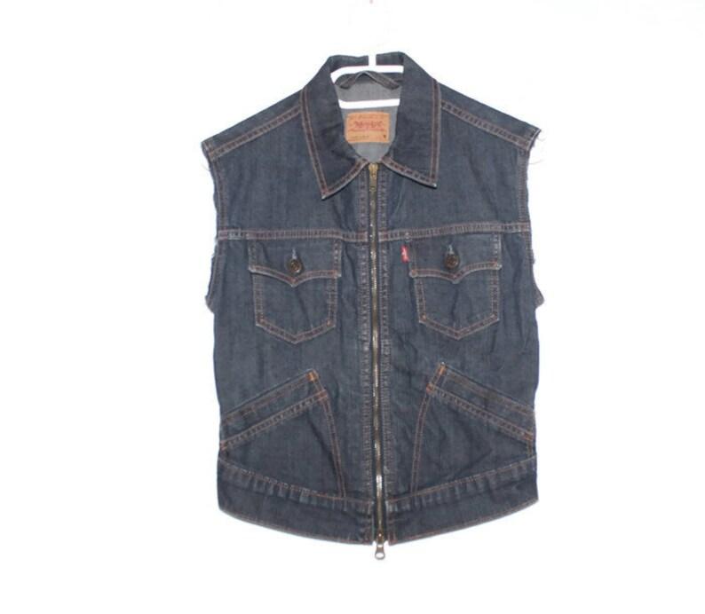 b9008f011ee8f Levi jean jacket vest vintage levi cut off jacket small etsy jpg 794x692 Cut  off jean