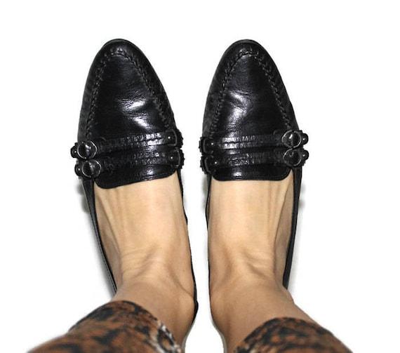 meet d4c13 9ff32 Högl Schuhe Boho Knöchel Schuhe Vintage schwarz Schuhe echtes Leder Boho  Hipster Loafers Heels Schuhe flach Loafers Schuh uns Frauen 7, UK 4.5 Eur