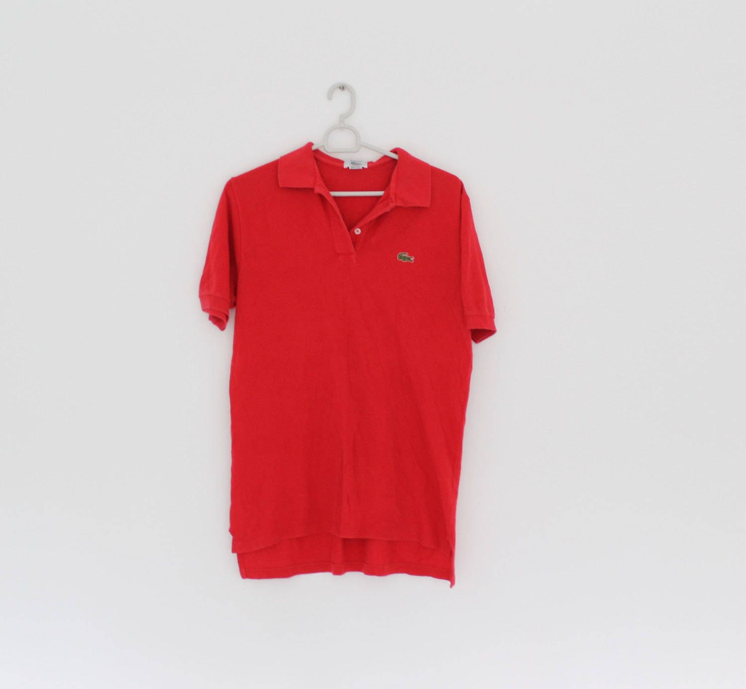 Izod Lacoste 80s Red Polo Shirt Small Cotton Red Short Etsy
