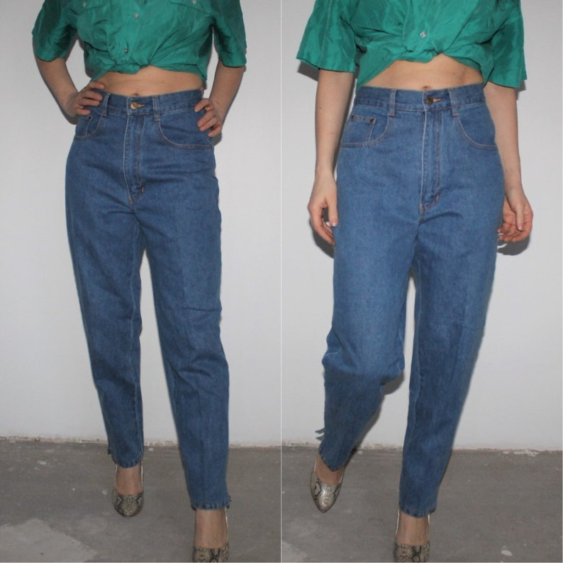 647be41d47 80s Mom Jeans Light Wash Baggy Jeans Blue High Waisted Jeans   Etsy