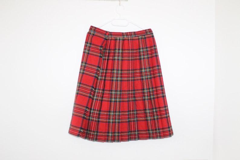 c59da26aa3 Vintage 80s Tartan Skirt Pleated Plaid Midi Large Over Knee | Etsy