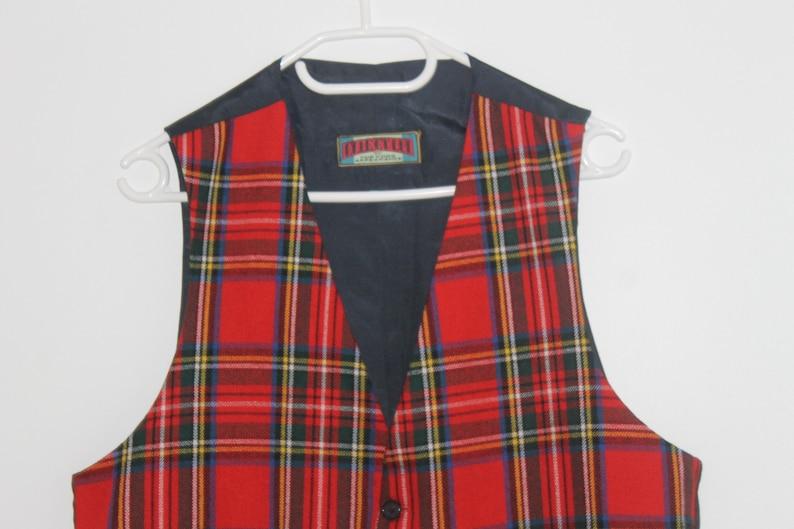 Small Vintage Wool Blend Red blue Vest Formal Fitted Waistcoat Edwardian Victorian Women/'s  tartan retro Wedding Checkered Check Vest Medium