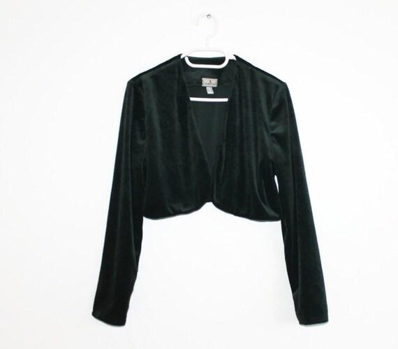 Forest Green Velvet Bolero Long Sleeves Waistcoat