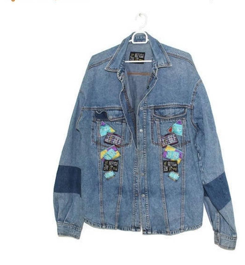 nouveau design mignon pas cher large sélection Patchwork oversized denim jacket Grunge men women jeans homme femme  Patchwork Workwear Button Up Shirt Western Cardigan Large Extra L