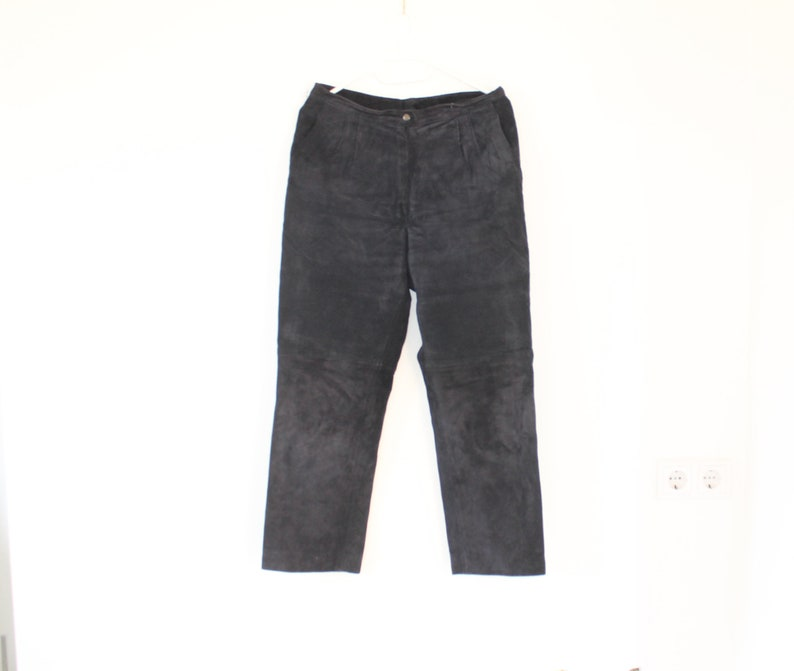 get cheap provide large selection of street price Black Suede Leather Pants High Waisted Womens Mens Genuine Leather Trousers  Biker Motorcycle Rock Star Large Size Dark Navy blue Track Pant