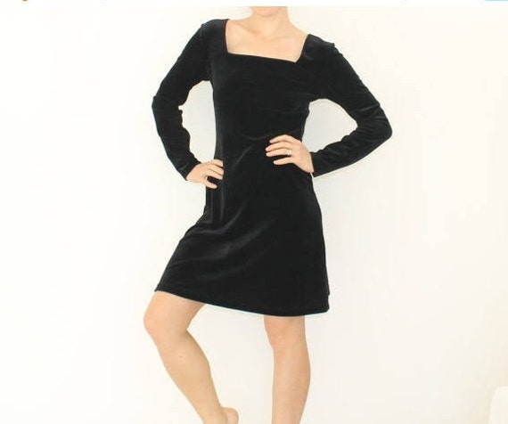 Vintage Black Crushed Velvet Dress Long Sleeve Holiday Etsy