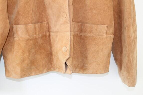 Vintage Oberbekleidung lange Rocker 80er Wildleder Aztec braun abgeschnitten Wildleder Jahre südwestlichen Jacke Mantel braun Blazer Oversized AR4j5cLq3