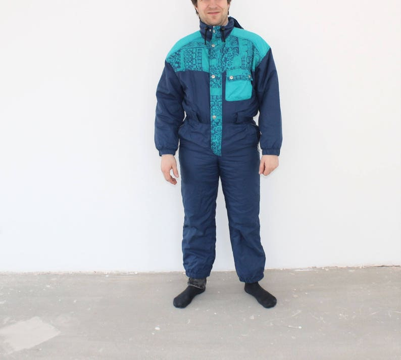 Womens Snow Suit One Piece >> 80s One Piece Ski Suit Retro Snow Suit Blue Womens Medium Skiing Costume Ski Coverall Mens Small Snowboard Snowsuit Hipster Winter Wear Snow