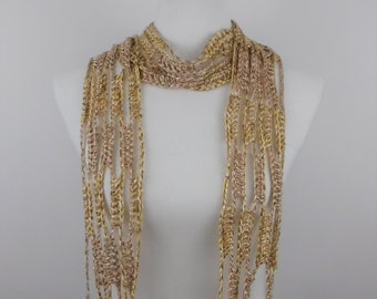 Crocheted Lace Scarf Summer Linen Rayon VEGAN Ready to Ship Free Shipping
