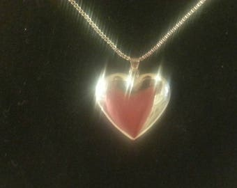 Silver Heart Locket Pendant Necklace.