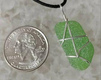 Sea Glass & Sterling Silver Pendant - Includes Cotton Cord w/ Sterling Clasp