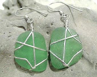 Green Sea Glass & Sterling Silver Earrings - Larger Size