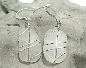White Sea Glass & Sterling Silver Earrings - Larger Size
