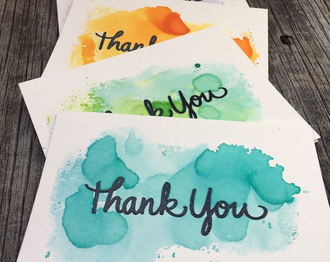 Featured listing image: Set of 5 Watercolor Thank You Cards, Handmade Thank You Cards Set, Blank Thank You Card Set