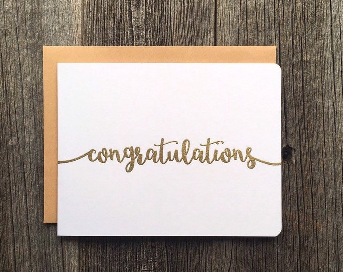 Featured listing image: Set of 5 Gold Embossed Congratulations Cards