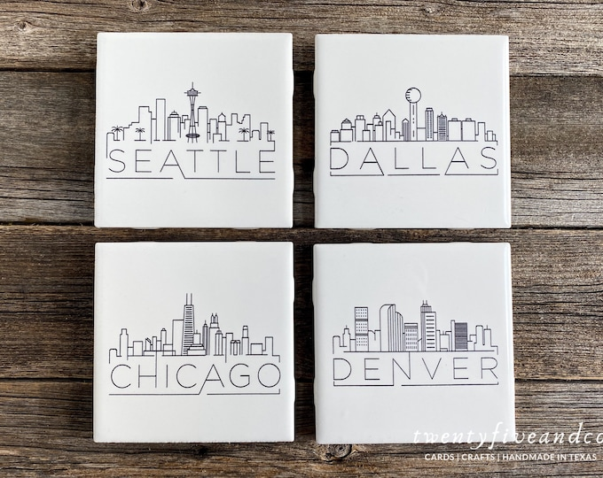 Featured listing image: Mix and Match Set of 4 Engraved US City Skyline Tile Coasters, Black and White Minimalist Coasters, Modern Coaster Gift Set