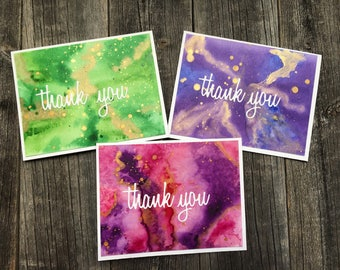 Set of 3 Watercolor Thank You Cards, Gemstone