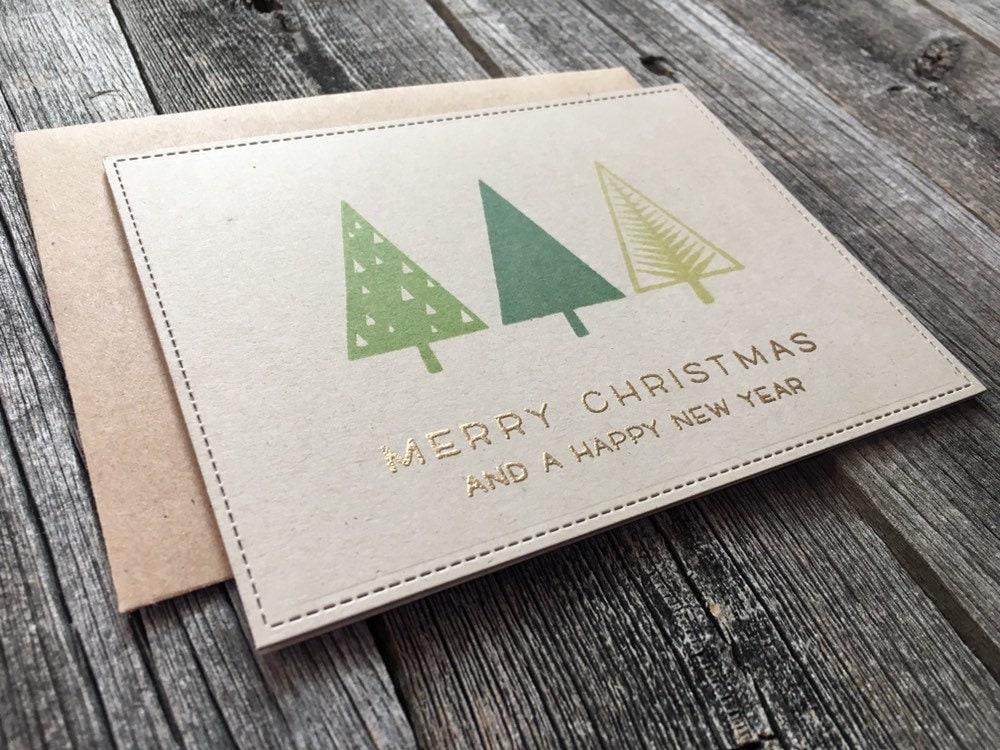 set of 5 geometric christmas cards handmade minimalist