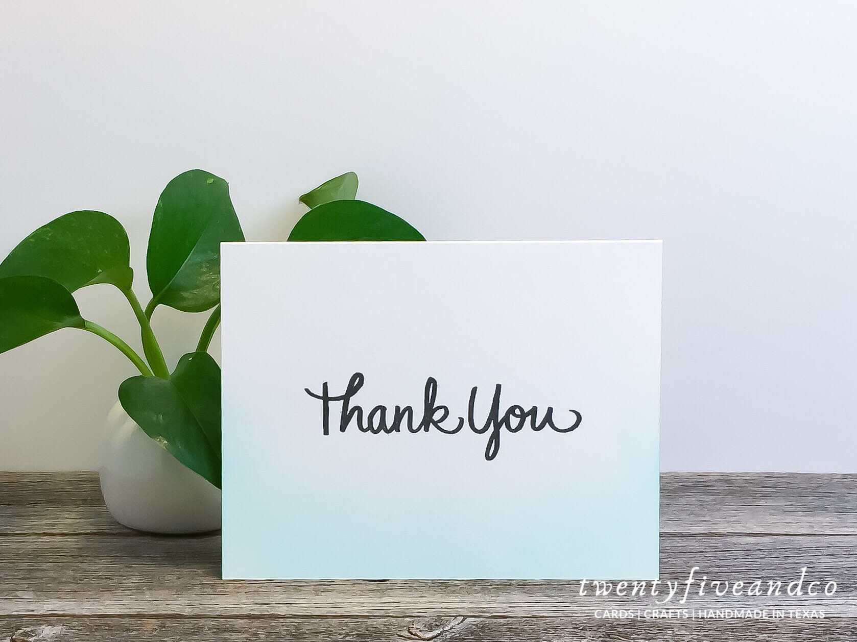 Set of 3 Ombre Modern Thank You Cards, Turquoise