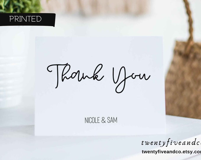 Featured listing image: Personalized Wedding Thank You Cards Set, Custom Thank You Card Pack, Modern Blank Thank You Cards