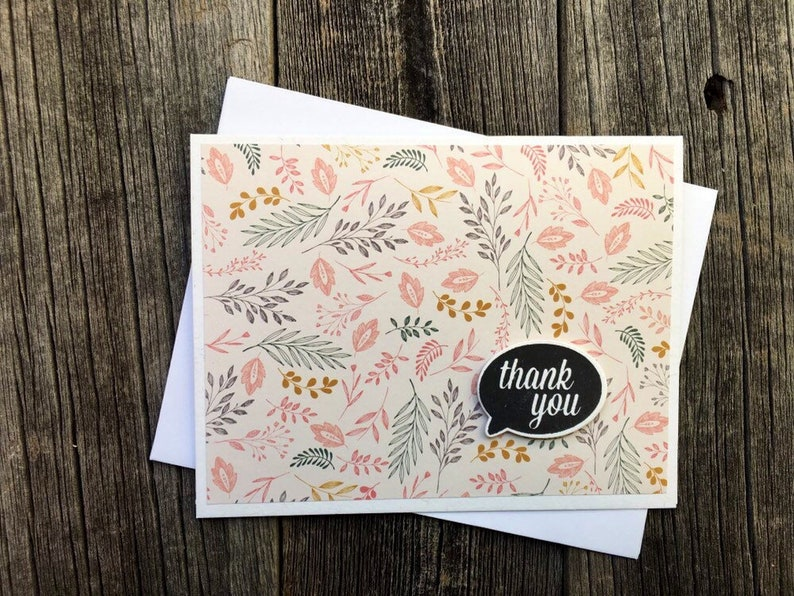 Blank Thank You Cards Set of 5 Handmade Thank You Cards Assorted Thank You Card Set