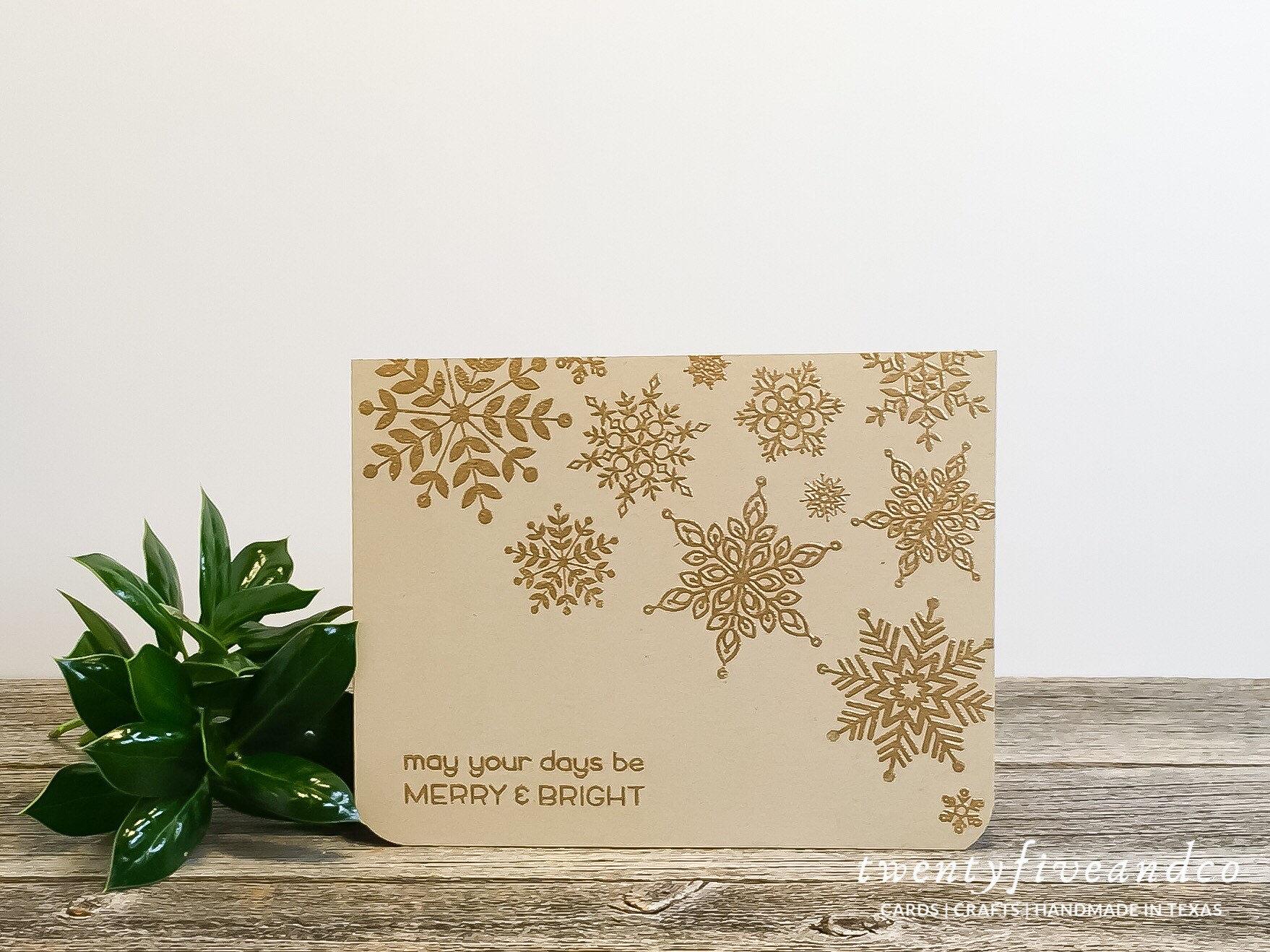 Christmas Notecards.Set Of 5 Gold Snowflake Christmas Cards Handmade Minimalist