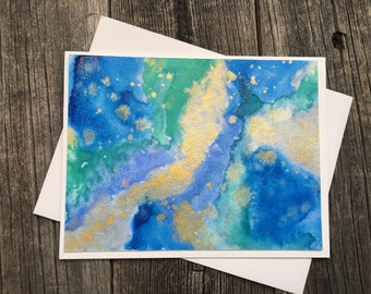 Set of 3 Watercolor Cards, Turquoise