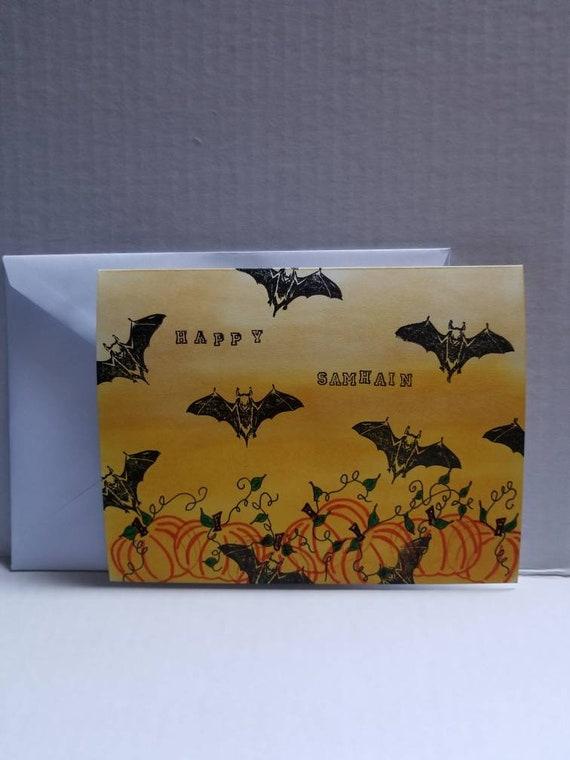 Samhain pagan greeting card hand drawn hand stamped blank etsy image 0 m4hsunfo