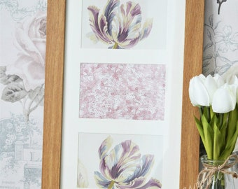 Laura Ashley floral plum meadow inspired wooden picture frame unique shabby chic wall art
