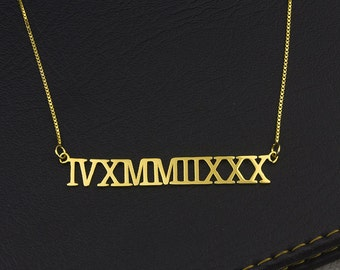 Roman Numeral Necaklce, Gold Roman Necklace, Customized Roman Numeral Necklace, Personalized Roman Pendant, Custom Date Necklace, Child Gift
