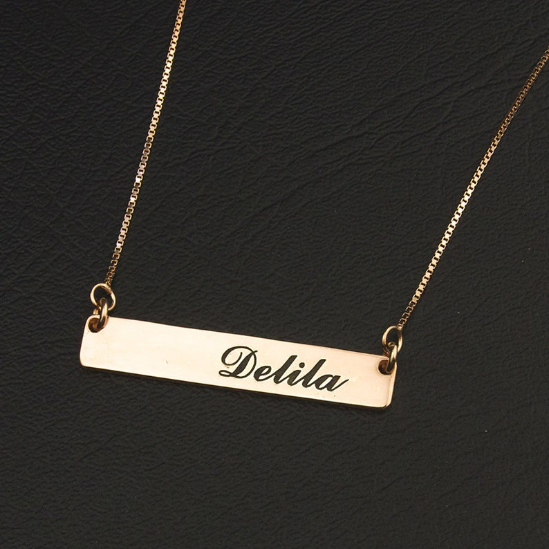 Engraved Name Plate Rose Gold Nameplate Necklace Engraved Nameplate Necklace Gift Carrie Nameplate Necklace Personalized Name Pendant