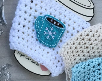 Cotton Cup Cozy//Coffee Cup Cozy//Tumbler Cover//Hot Cup Cozy//Iced Coffee Sleeve//Crochet Cozy//Handmade Cup Cozy//Snowflakes//Hot Cocoa