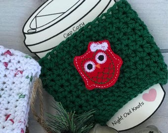Cotton Cup Cozy//Coffee Cup Cozy//Tumbler Cover//Hot Cup Sleeve//Iced Coffee Sleeve//Handmade Cozy//Owl Gift