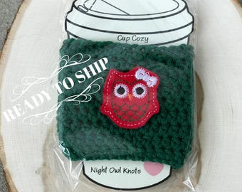 Ready to Ship//Cotton Cup Cozy//Coffee Cup Cozy//Hot Cup Sleeve//Cup Sleeve//Tumbler Cover//Iced Coffee Sleeve//Owl Cup//Owl Decal