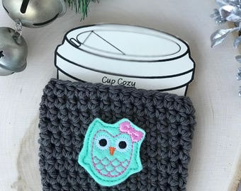 Cotton Cup Cozy//Coffee Cup Cozy//Tumbler Cover//Hot Cup Cozy//Iced Coffee Sleeve//Crochet Cozy//Handmade Cup Cozy//Mint Owl Cup Cozy
