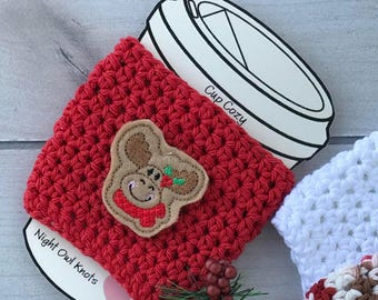 Cotton Cup Cozy//Coffee Cup Cozy//Tumbler Cover//Hot Cup Sleeve//Iced Coffee Sleeve//Handmade Cup Sleeve//Moose