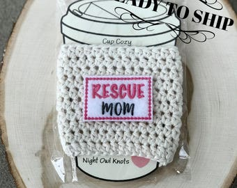 Ready to Ship//Cotton Cup Cozy//Coffee Cup Cozy//Hot Cup Sleeve//Cup Sleeve//Tumbler Cover//Iced Coffee Sleeve//Rescue Mom//Animal Lover
