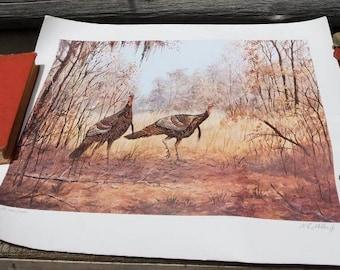 Wild Turkey Wildlife Print/signed/oil/watercolor/pencil/nature/art/turkeys/birds/rustic/cabin/lake house/farmhouse/decor/lodge/hunting/fall