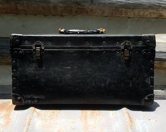 Vintage Toolboxes/Carrying Case/Metal/Industrial/Gift for Him/Storage/Organization/Old Tool Box/Rustic/Briefcase Style/Antique/Black/Luggage