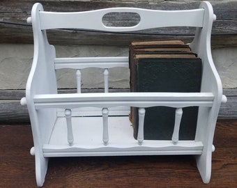 Vintage Magazine Rack- White Magazine Rack- Wood/Wooden- Refurbished- Shabby Chic Decor- Living Room/Den Furniture- Storage & Organization