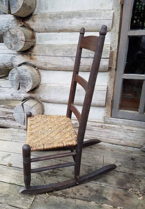 Fantastic Vintage Rocking Chair Rocking Chairs Rustic Rockers Wooden Furniture Primitive Ladderback Wicker Den Cabin Lake House Lodge Chairs Porch Ncnpc Chair Design For Home Ncnpcorg