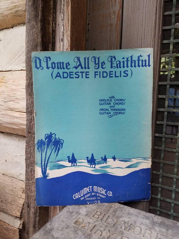 Vintage Christmas Sheet Music O Come All Ye Faithful Adeste Etsy
