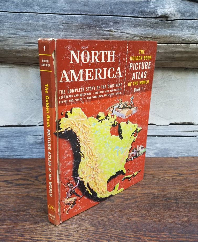 North America Picture Atlas Book of the World, Complete Story --  Geography/1,000 Color/Photographs/Maps/1960s/childrens/homeschool/school