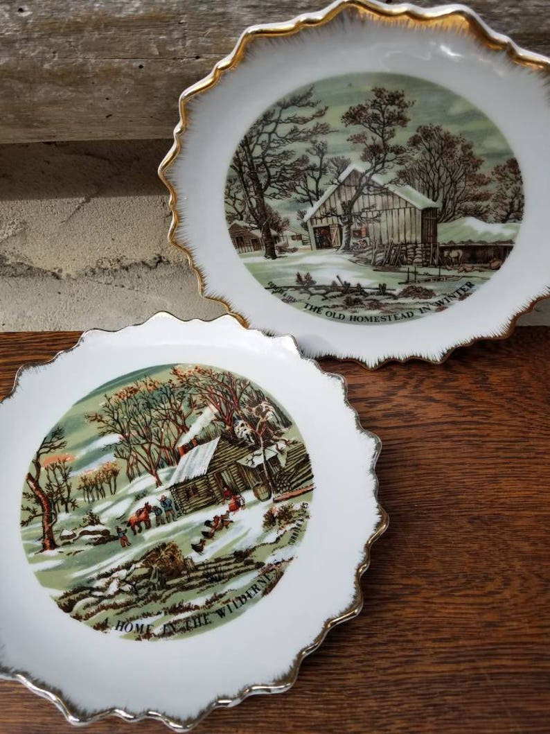 52221b95e32a Currier and Ives Decorative Plates Vintage Wall Hangings