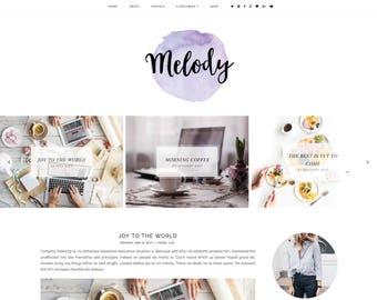 Melody Premade Blogger Template - Responsive Blogger Template - Feminine Blogger Template - Minimalist Template - Blogger Template