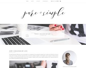 Pure&Simple Premade Blogger Template - Responsive Blogger Template - Feminine Blogger Template -Minimalist Template-Blogger Template