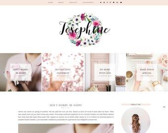 Josephine Premade Blogger Template - Responsive Blogger Template - Feminine Template - Minimalist Template - Blogger Template - Pink