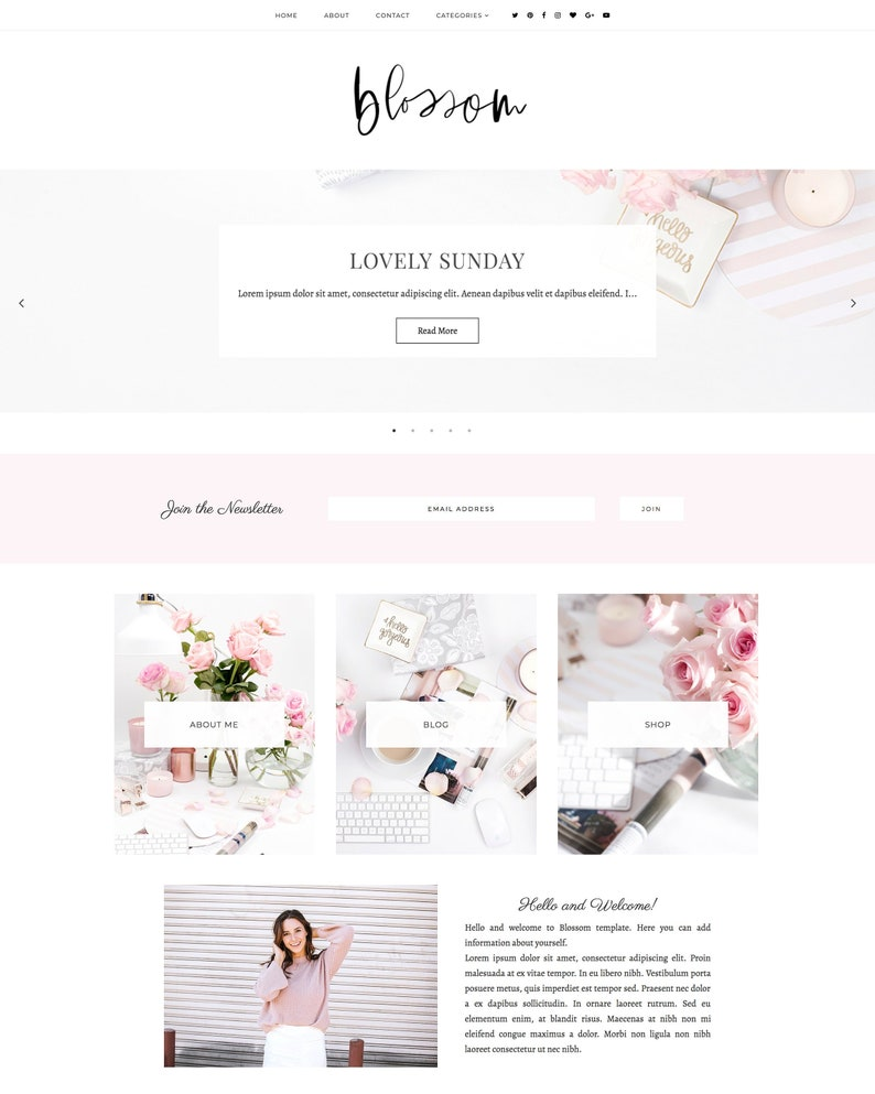 New Blossom Blogger Template Landing Page Responsive Blogger Template Feminine Template Minimalist Template Blogger Theme Blog