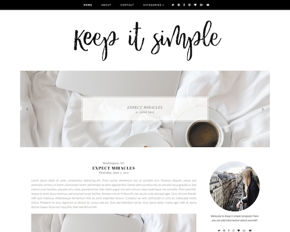 Keep It Simple Premade Blogger Template Free Installation | Etsy
